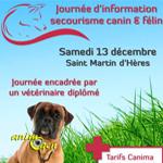 Journée d'information et de secourisme canin et félin à Saint Martin d'Hères (38), le samedi 13 décembre 2014