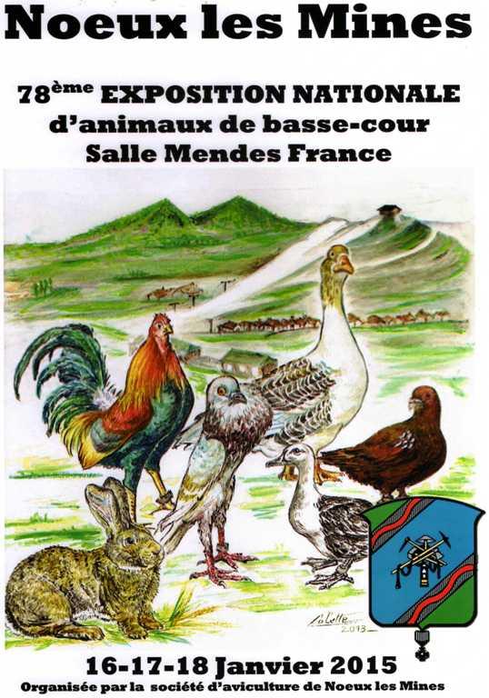 78 ème exposition nationale d'animaux de basse-cour à Noeux les Mines (62), lesvendredi16, samedi 17 et dimanche 18janvier 2015
