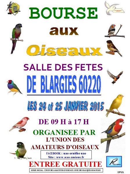 Bourse aux Oiseaux et Animaux de Basse-cour à Blargies (60), du samedi 24 au dimanche 25 janvier 2015