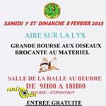 Grande bourse aux oiseaux et brocante au matériel d'élevage à Aire sur la Lys (62), du samedi 07 au dimanche 08 février 2015