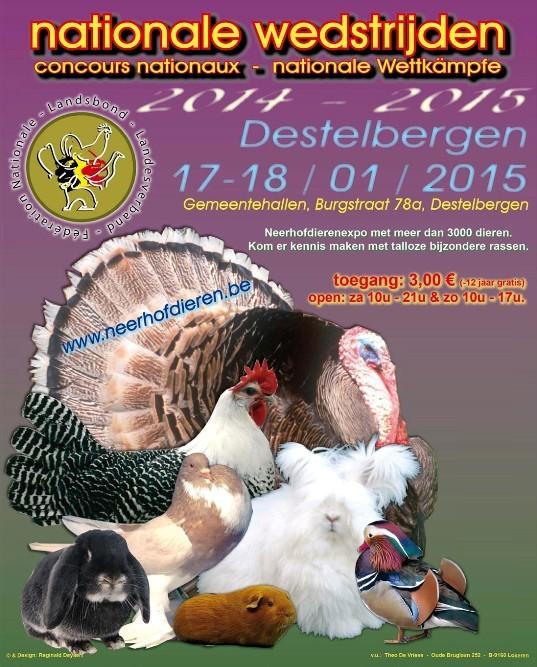 "Exposition avicole ""Nationale wedstrijden"" de Destelbergen (Belgique), du samedi 17 au dimanche 18 janvier 2015"