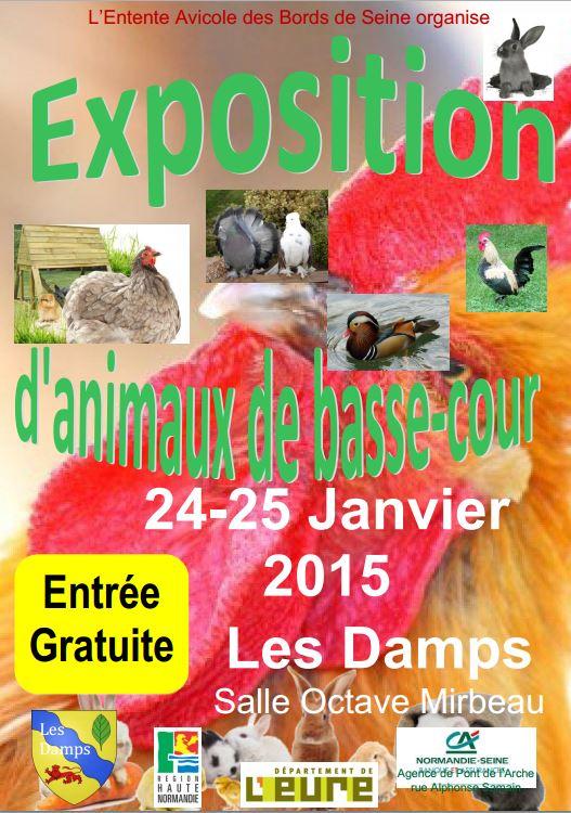 Exposition d'animaux de basse-cour aux Damps (27), du samedi 24 au dimanche 25 janvier 2015