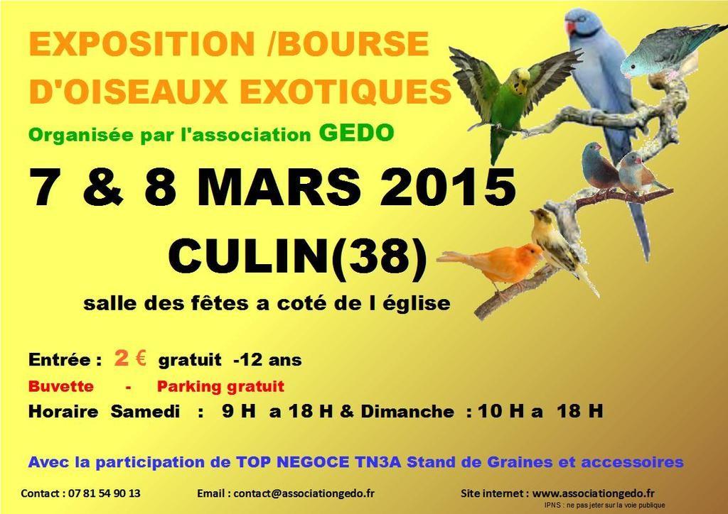 Exposition-bourse d'oiseaux exotiques à Culin (38), du samedi 07 au dimanche 08 mars 2015