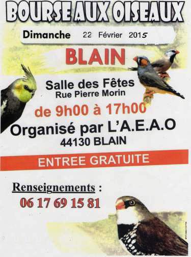 Bourse aux oiseaux blain 44 le dimanche 22 f vrier - Entree gratuite salon agriculture 2015 ...