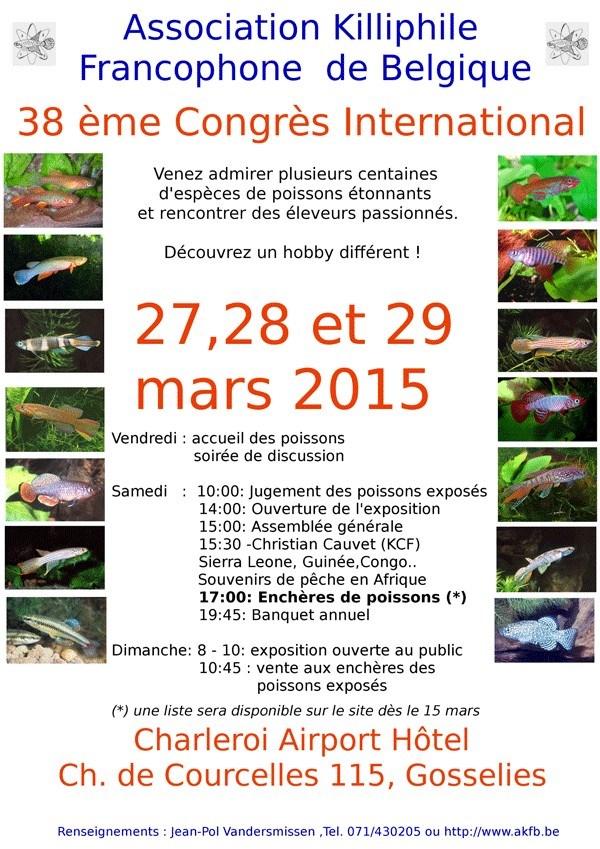 38 ème Congrès killiphile à Gosselies (Belgique), les vendredi 27, samedi 28 et dimanche 29 mars 2015