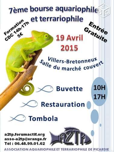7 ème Bourse aquariophile et terrariophile à Villers Bretonneux (80), le dimanche 19 avril 2015