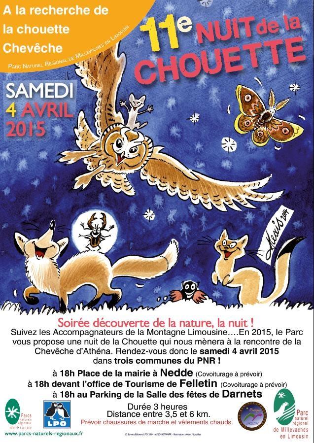 11 ème Nuit de la chouette à Darnets (19), Felletin (23) et Nedde (87), le samedi 04 avril 2015