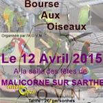 Bourse aux oiseaux à Malicorne sur Sarthe (72), le dimanche 12 avril 2015