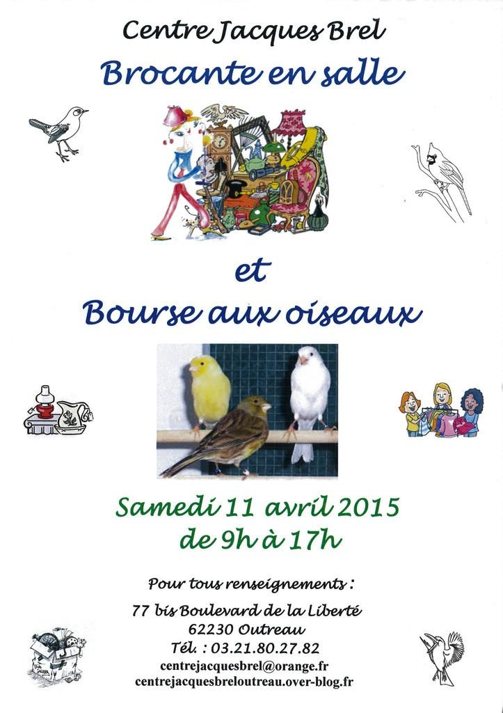 Brocante et bourse aux oiseaux à Outreau (62), le samedi 11 avril 2015