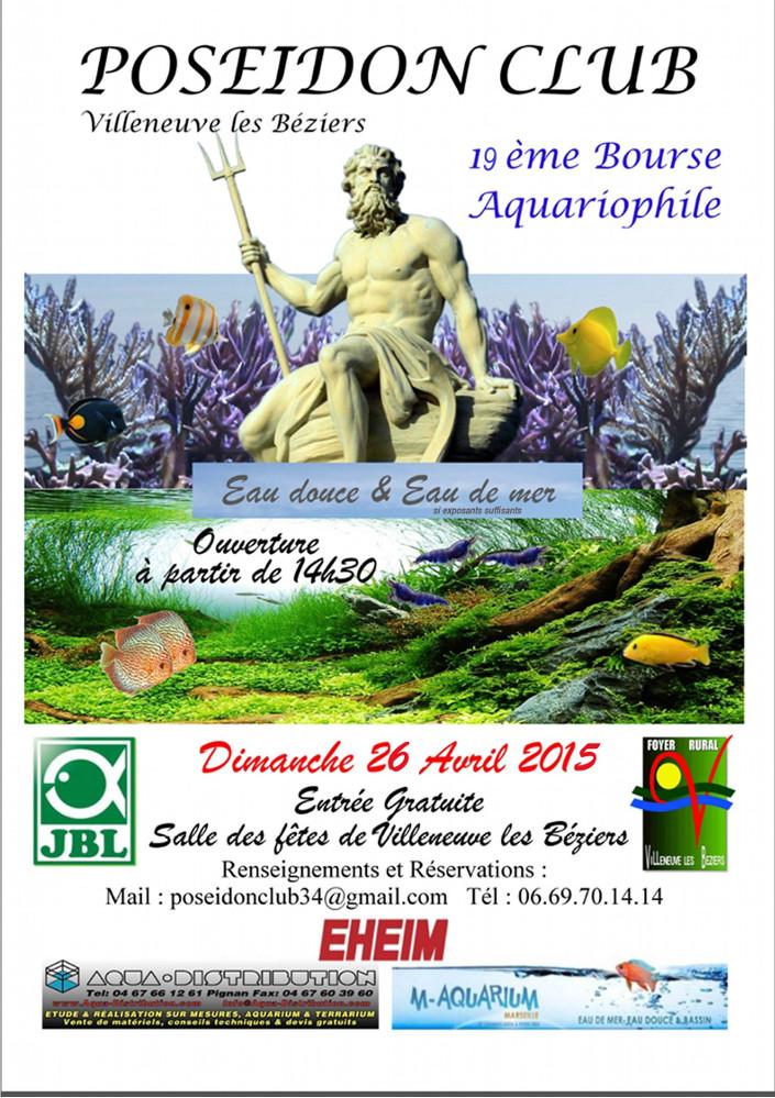 19 ème Bourse aquariophile à Villeneuve les Béziers (34), le dimanche 26 avril 2015