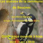 Conférence « les oiseaux de la commune de Bessines» à Béssines (79), le mardi 14 avril 2015