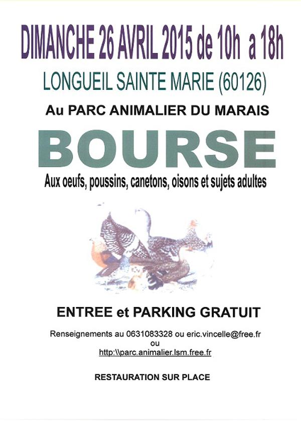 Bourse aux oeufs, poussins, canetons, oisons et sujets adultes à Longueil Sainte Marie (60), le dimanche 26 avril 2015