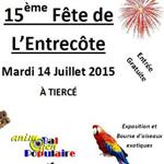 Exposition et Bourse d'oiseaux exotiques et 15 ème fête de l'entrecôte à Tiercé (49), le mardi 14 juillet 2015