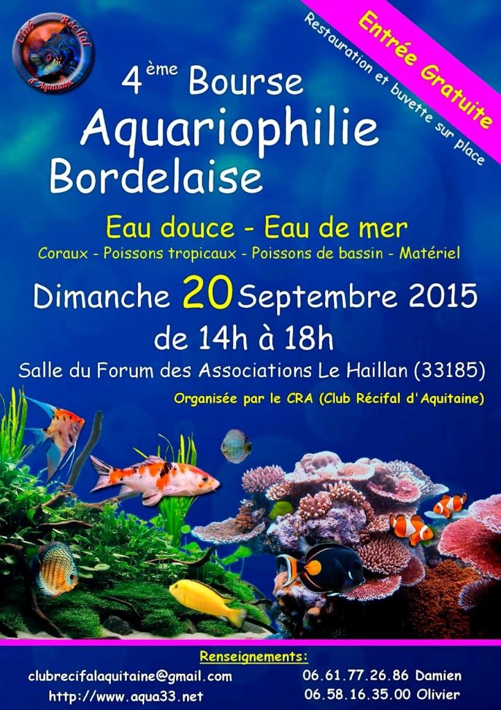 4 ème Bourse aquariophile bordelaise au Haillan (33), le dimanche 20 septembre 2015