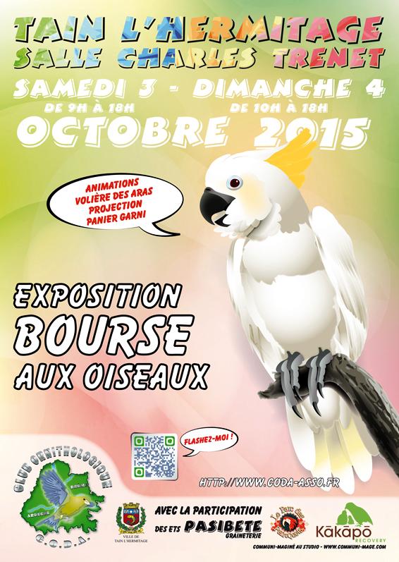 Exposition-Bourse aux oiseaux à Tain l'Hermitage (26), du samedi 03 au dimanche 04 octobre 2015