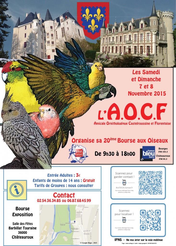 20 ème Bourse aux oiseaux à Châteauroux (36), du samedi 07 au dimanche 08 novembre 2015