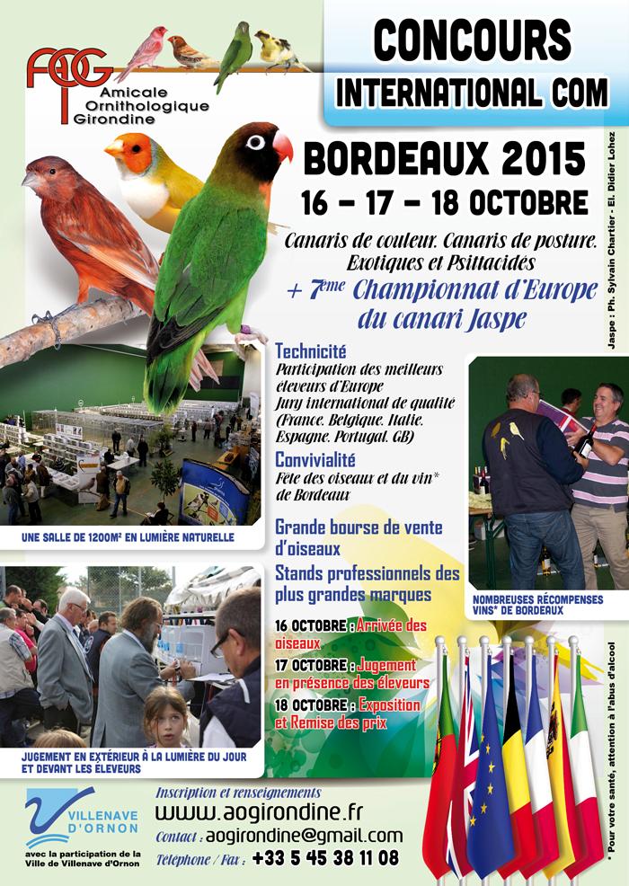 7 ème Championnat d'Europe du canari Jaspe à Bordeaux (33), les vendredi 16, samedi 17 et dimanche 18 octobre 2015