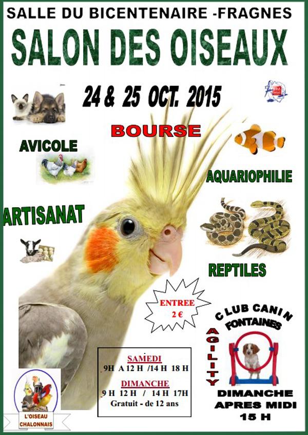 Salon des oiseaux à Fragnes (71), du samedi 24 au dimanche 25 octobre 2015