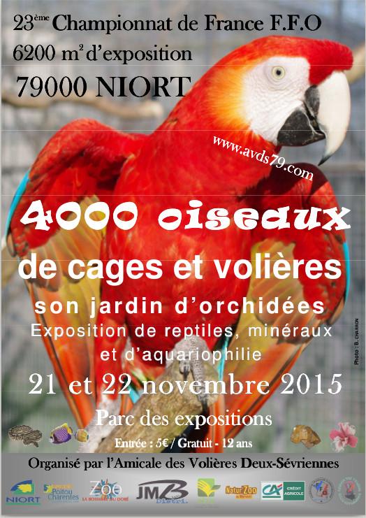 23 ème Championnat de France ornithologique FFO à Niort (79), du samedi 21 au dimanche 22 novembre 2015