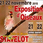 62 ème Exposition d'oiseaux à Stavelot (Belgique), du samedi 21 au dimanche 22 novembre 2015