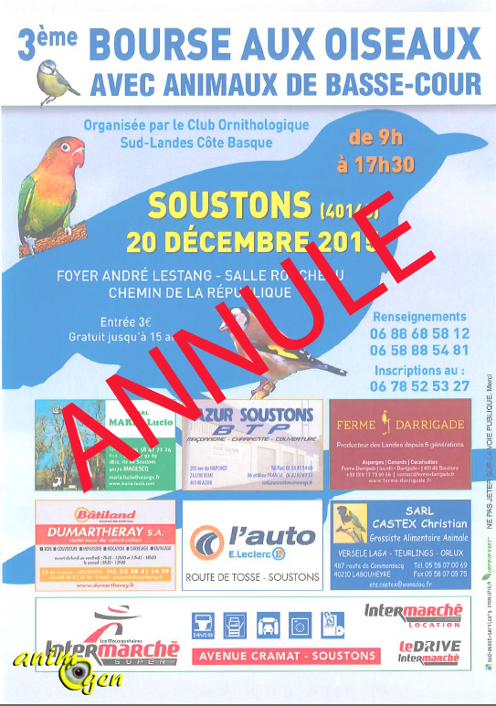 Bourse aux oiseaux à Soustons (40), le dimanche 20 décembre 2015