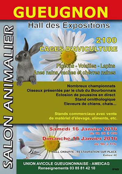 21 ème Salon Animalier à Gueugnon (71), du samedi 16 au dimanche 17 janvier 2016
