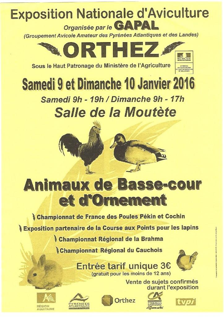 Exposition Nationale d'Aviculture à Orthez (64), du samedi 09 au dimanche 10 janvier 2016