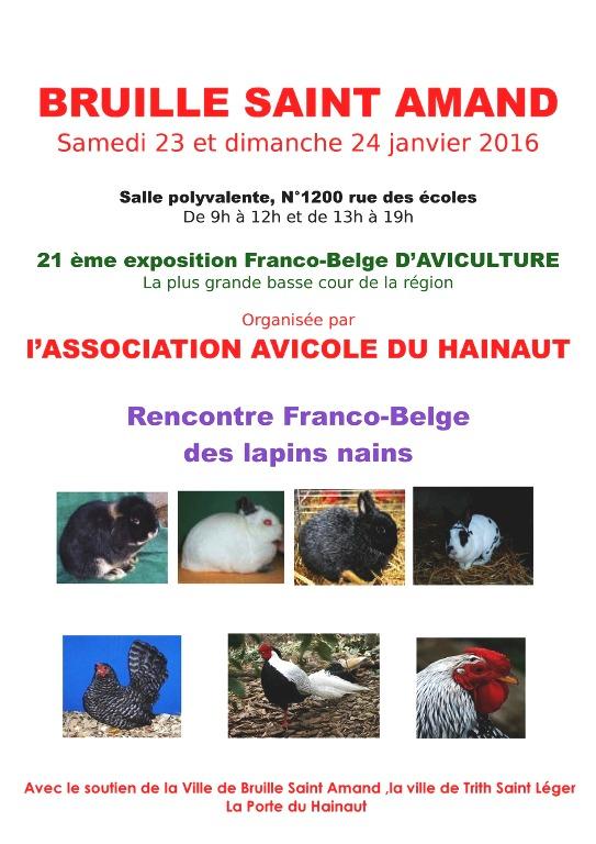 21 ème Exposition avicole franco-belge à Bruille Saint Amand (59) du samedi 23 au dimanche 24 janvier 2016