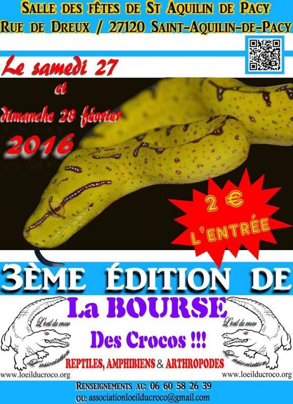 3 ème Bourse aux reptiles et amphibiens à Saint Aquilin de Pacy (27), du samedi 27 au dimanche 28 février 2016