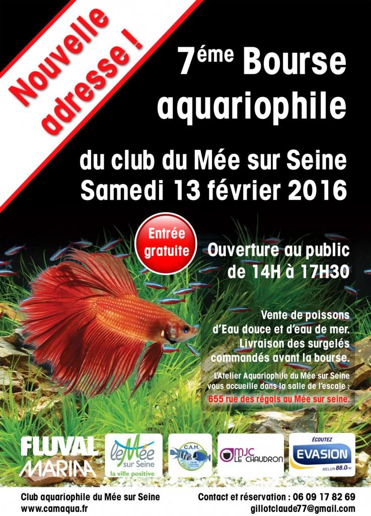 7 ème Bourse CAMAQUA eau douce et eau de mer au Mée sur Seine (77), le samedi 13 février 2016