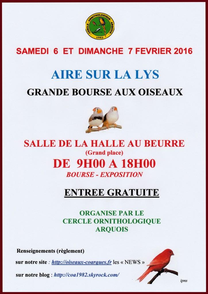 Grande bourse aux oiseaux et brocante au matériel d'élevage à Aire sur la Lys (62), du samedi 06 au dimanche 07 février 2016