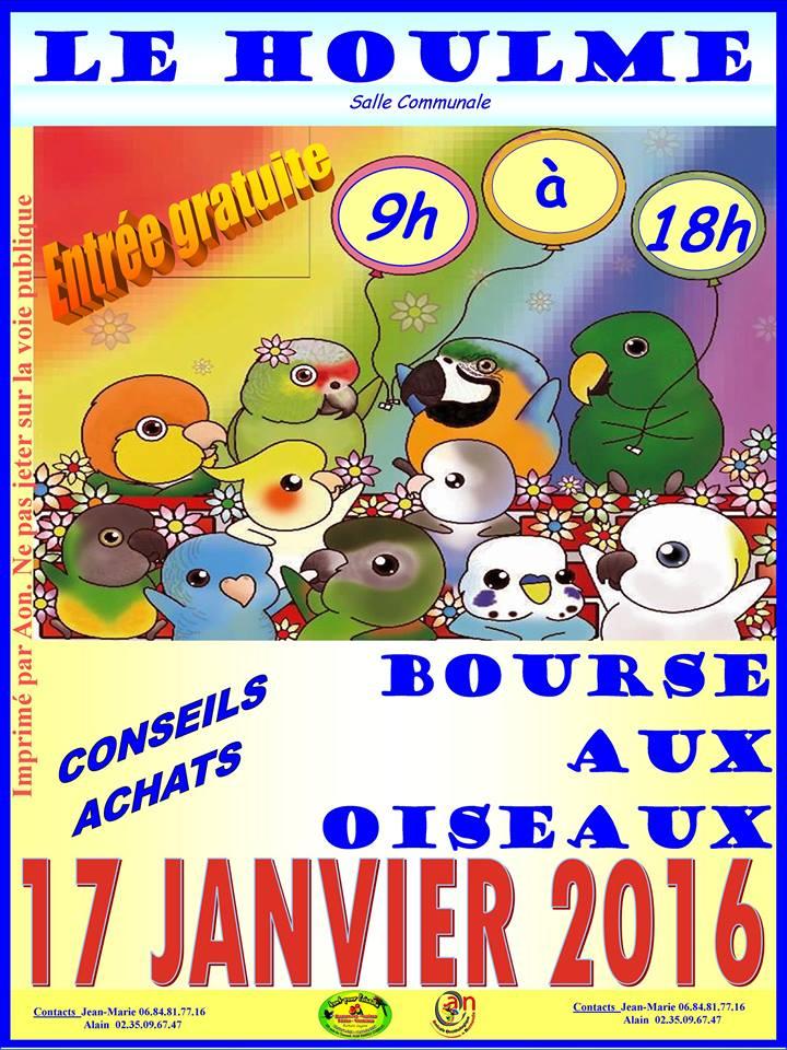 Bourse aux oiseaux à Le Houlme (76), le dimanche 17 janvier 2016