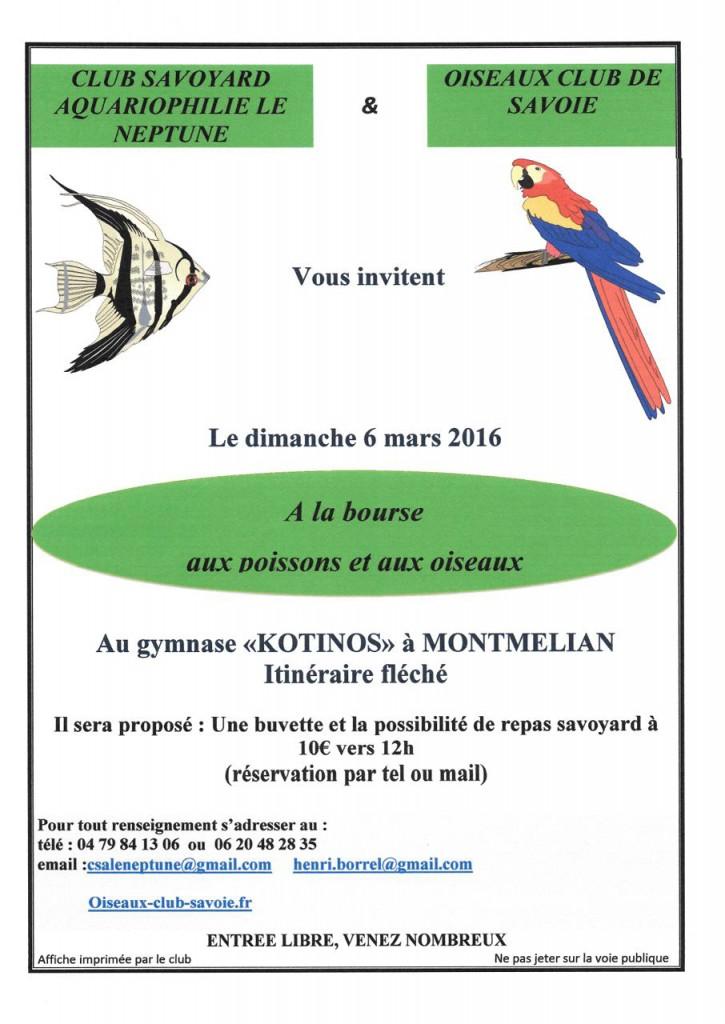 Bourse aux poissons et aux oiseaux à Montmélian (73), le dimanche 06 mars 2016