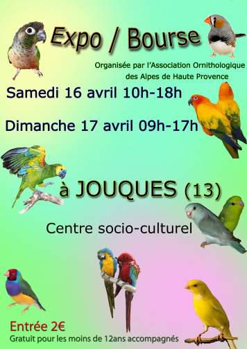 Expo-Bourse d'oiseaux à Jouques (13), du samedi 16 au dimanche 17 avril 2016