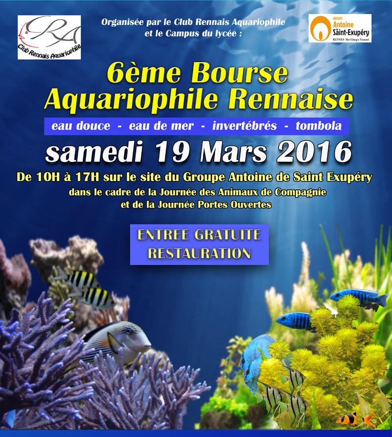6 ème Bourse aquariophile rennaise à Rennes (35), le samedi 19 mars 2016