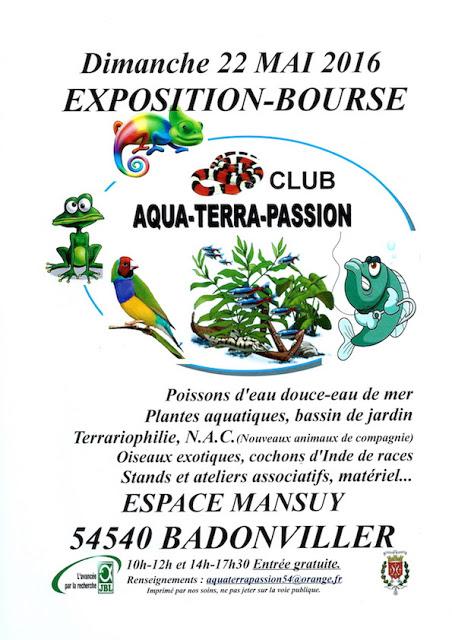 Exposition-Bourse aux poissons, reptiles et oiseaux à Badonviller (54), le dimanche 22 mai 2016