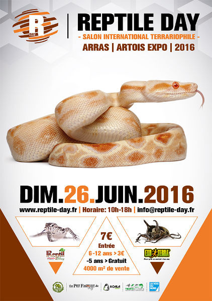 Reptile day (Salon international terrariophile) à Arras (62), le dimanche 26 juin 2016