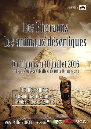 """Exposition """"Les Pharaons et les animaux désertiques"""" à Malley (Suisse), du 11 juin au 10 juillet 2016"""