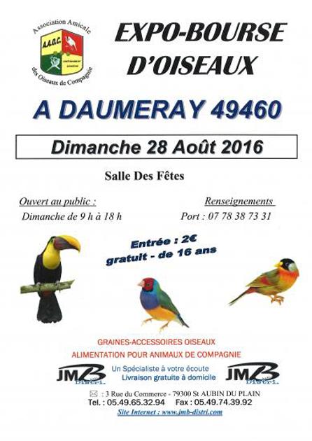 Expo-Bourse d'oiseaux à Daumeray (49), le dimanche 28 août 2016