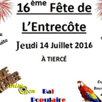 Exposition - Bourse d'oiseaux exotiques et 16 ème fête de l'entrecôte à Tiercé (49), le jeudi 14 juillet 2016