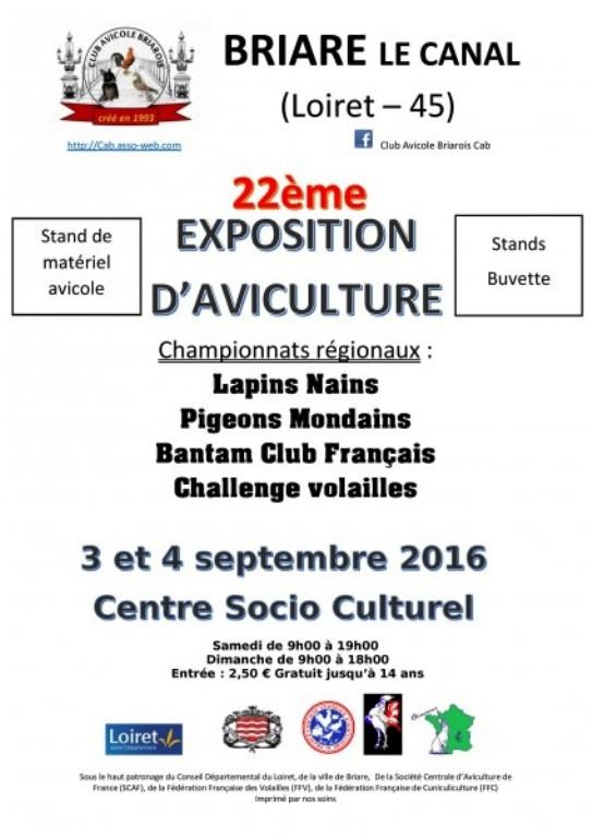 22 ème Exposition d'aviculture à Briare le Canal (45), du samedi 03 au dimanche 04 septembre 2016