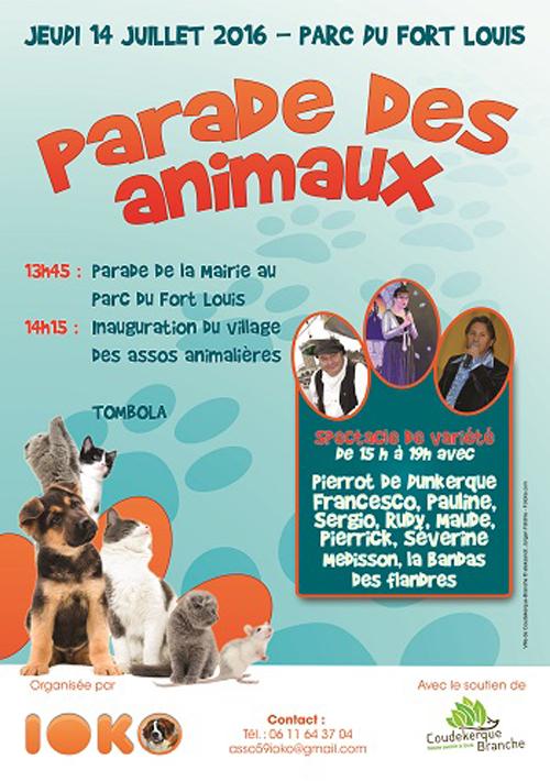 Parade des animaux à Coudekerque Branche (59), le jeudi 14 juillet 2016