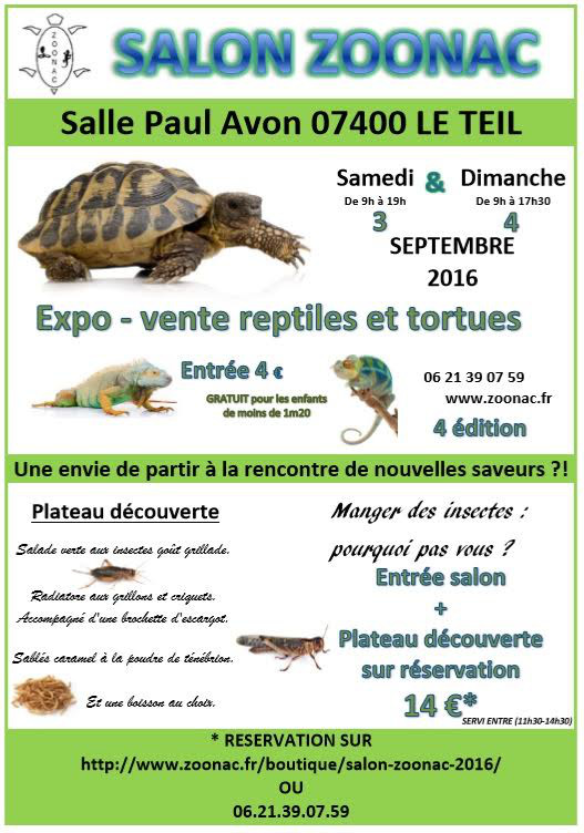 """4 ème Salon """"Zoonac"""" à Le Teil (07), du samedi 03 au dimanche 04 septembre 2016"""