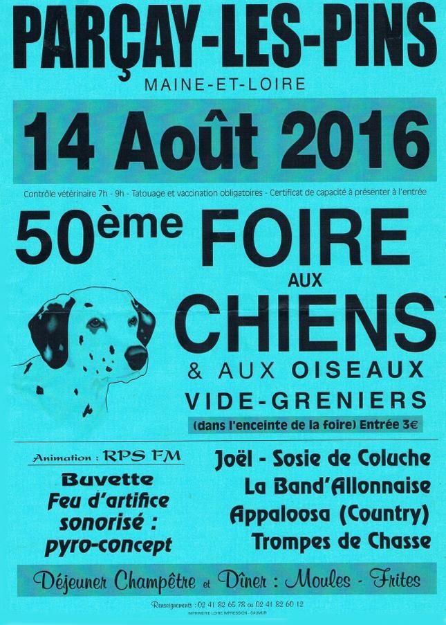 50 ème Foire aux chiens et aux oiseaux à Parçay les Pins (49), le dimanche 14 août 2016