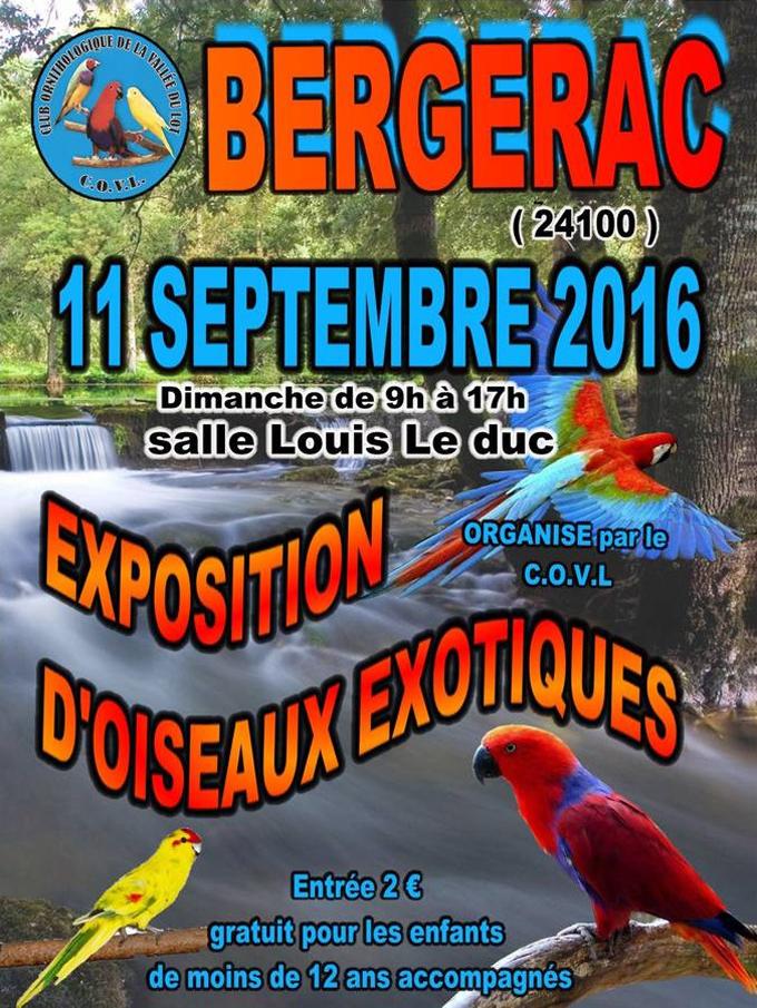 Bourse aux oiseaux à Bergerac (24), le dimanche 11 septembre 2016