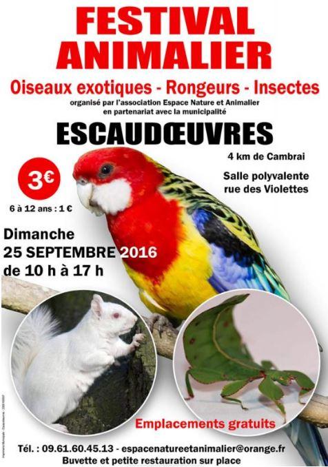 Festival animalier à Escaudoeuvres (59), le dimanche 25 septembre 2016
