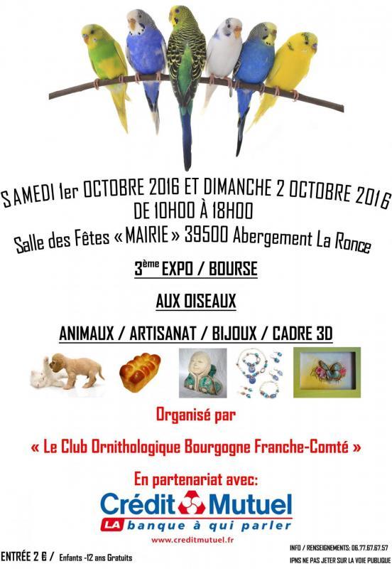 2 ème Expo/Bourse aux oiseaux inter-régionale à Abergement la Ronce (39), du samedi 1 er au dimanche 02 octobre 2016