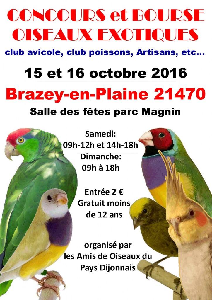 Concours et Bourse aux oiseaux à Brazey en Plaine (21), du samedi 15 au dimanche 16 octobre 2016