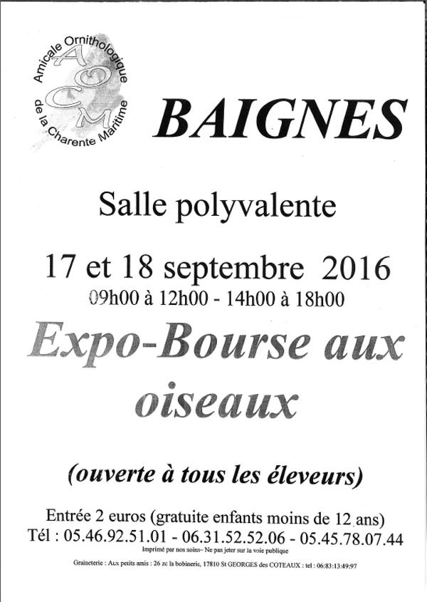 Expo-Bourse aux oiseaux à Baignes (16), du samedi 17 au dimanche 18 septembre 2016