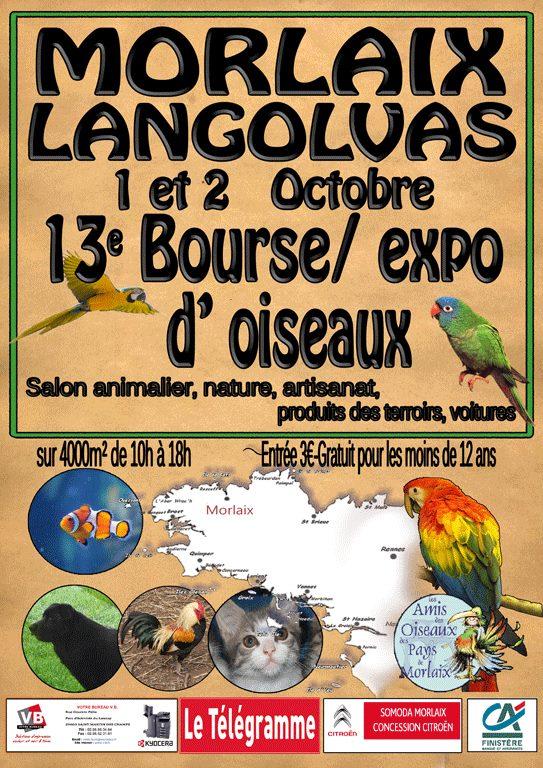 7 ème Bourse aux oiseaux à Morlaix (29), du samedi 1 er au dimanche 02 octobre 2016